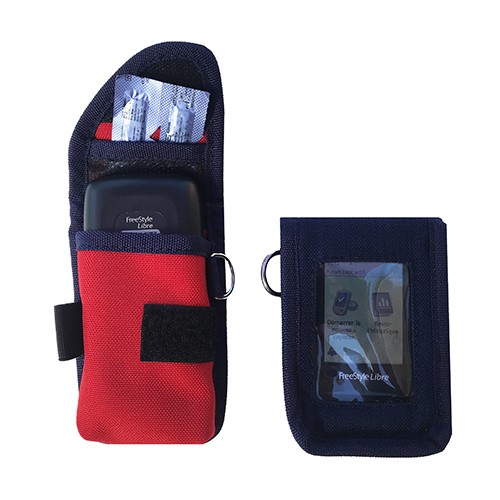 Pochette Protection pour FREESTYLE Libre couleur NAVY / ROUGE